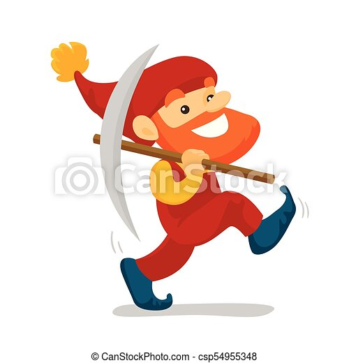 Cute senior dwarf walking with a pickaxe. - csp54955348