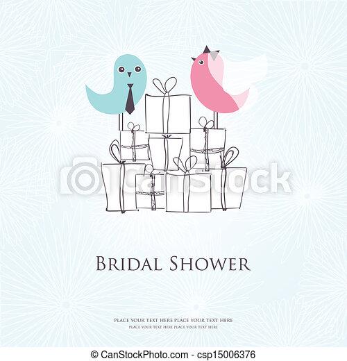cute, sentando, noivo, trajes, dois, chuveiro, noiva, caixas, convite, nupcial, pássaros, presente - csp15006376
