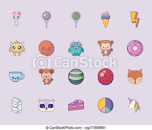 cute set icons style kawaii - csp71909961