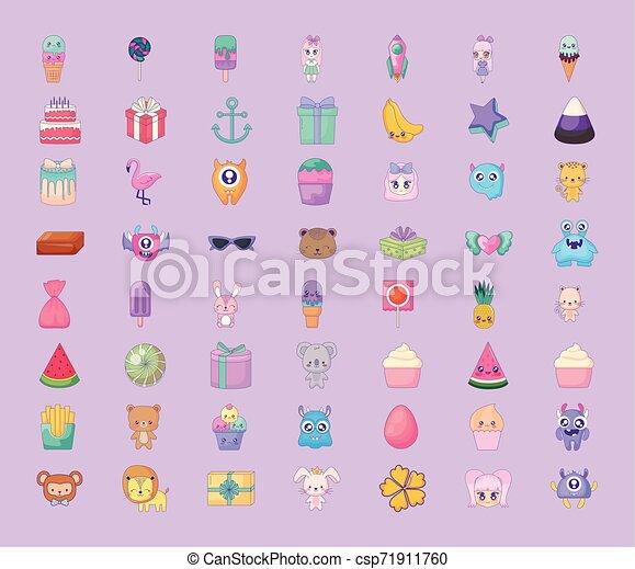 cute set icons style kawaii - csp71911760