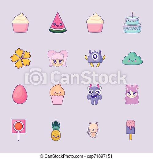 cute set icons style kawaii - csp71897151