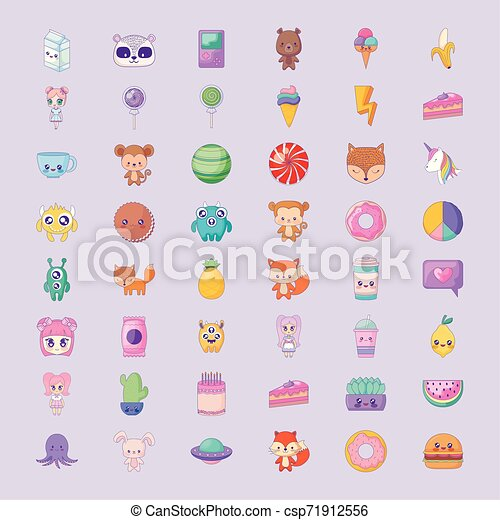 cute set icons style kawaii - csp71912556