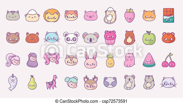 cute set icons style kawaii - csp72573591