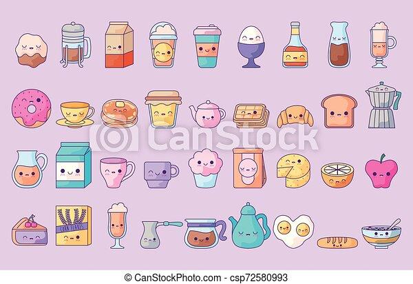 cute set icons style kawaii - csp72580993