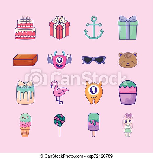 cute set icons style kawaii - csp72420789