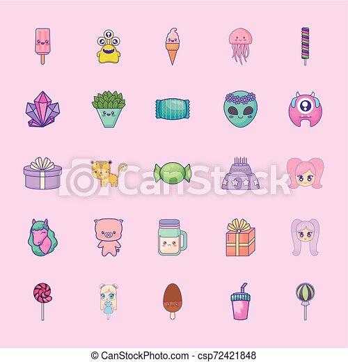 cute set icons style kawaii - csp72421848