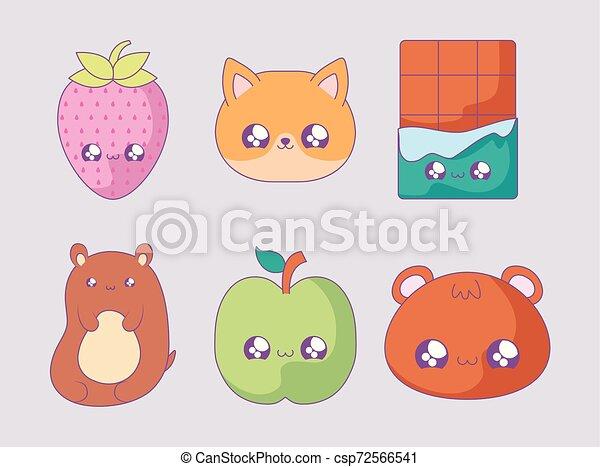 cute set icons style kawaii - csp72566541