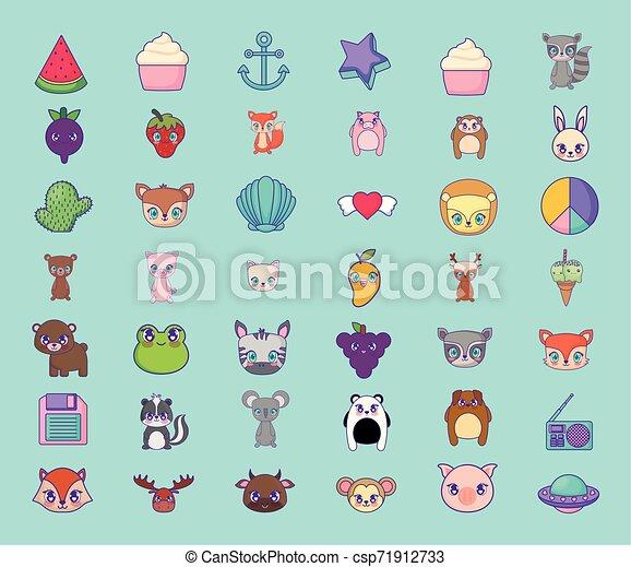 cute set icons style kawaii - csp71912733