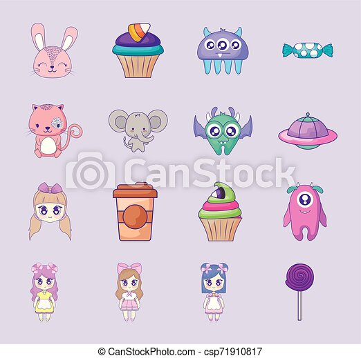 cute set icons style kawaii - csp71910817