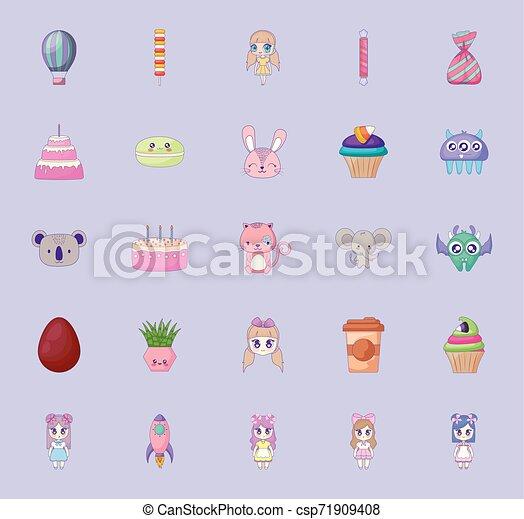 cute set icons style kawaii - csp71909408