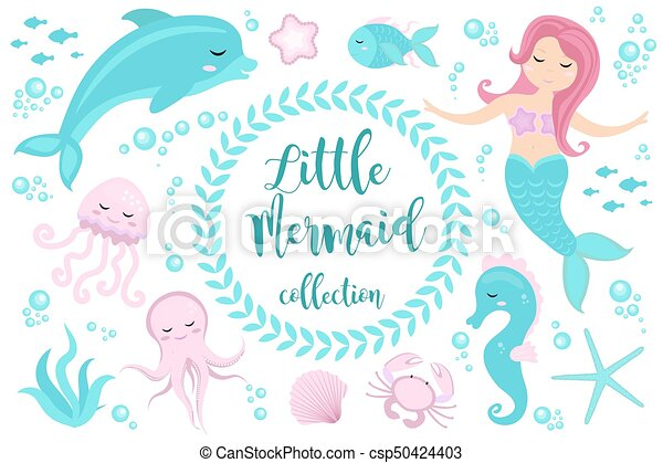 Cute set Little mermaid and underwater world. Fairytale princess mermaid and dolphin, octopus, seahorse, fish, jellyfish. Under water in the sea mythical marine collection. - csp50424403