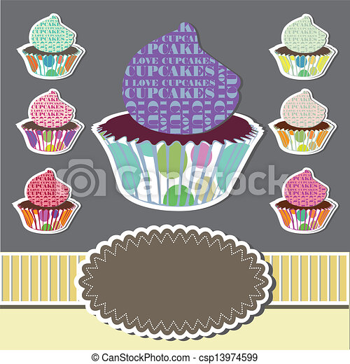 Cute set of cupcakes - csp13974599