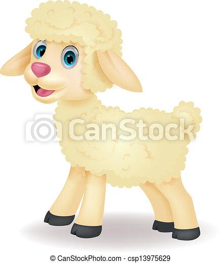 Cute sheep cartoon - csp13975629