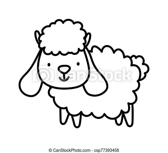 cute sheep farm animal cartoon thick line - csp77393458