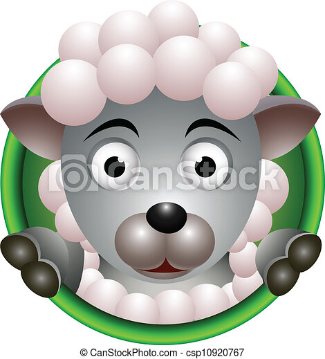 Vector illustration of cute sheep head cartoon.