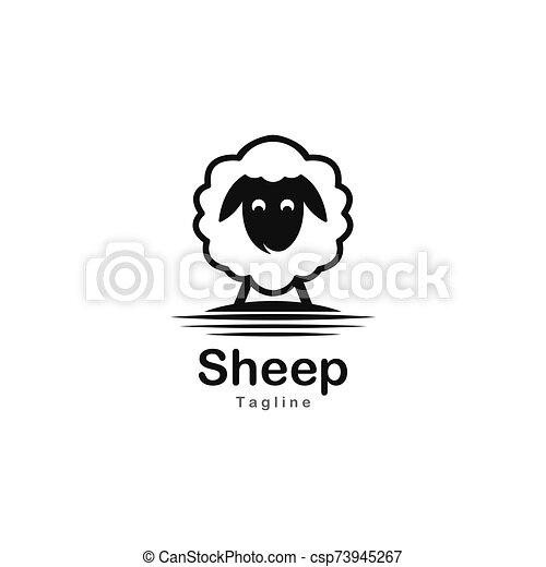 Cute sheep logo vector icon illustration - csp73945267