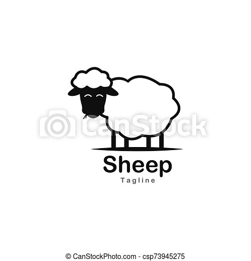 Cute sheep logo vector icon illustration - csp73945275