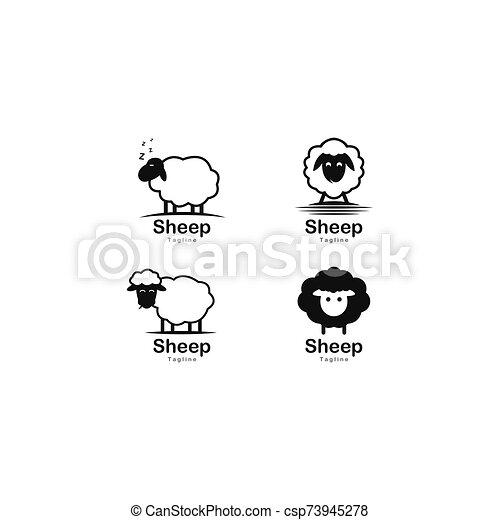 Cute sheep logo vector icon illustration - csp73945278