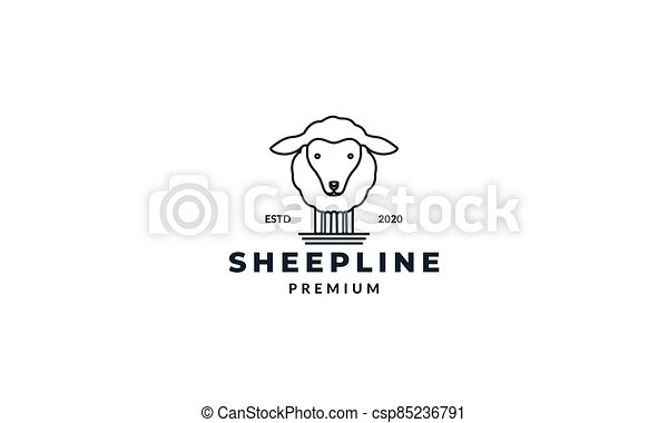 cute sheep or goat line logo design - csp85236791