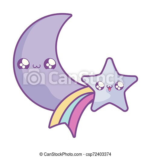 cute shooting star with moon kawaii style - csp72403374