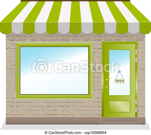 Cute shop icon with green awnings. - csp16568904
