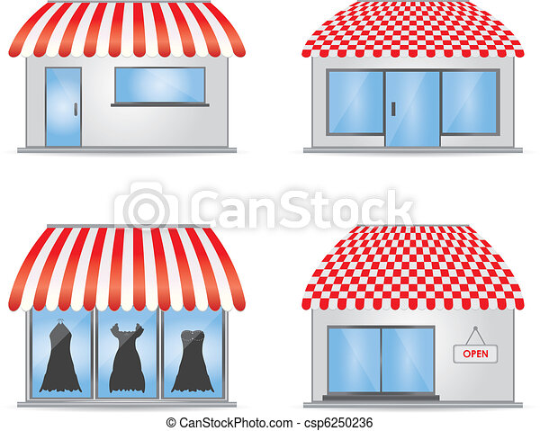 Cute shop icons with red awnings - csp6250236