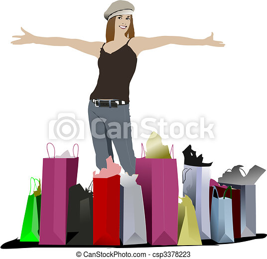 Cute shopping lady with bags. Vector colored illustration - csp3378223