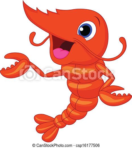 Cute shrimp cartoon presenting  - csp16177506
