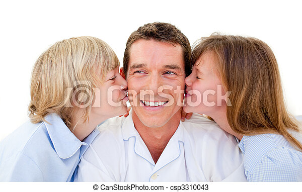Cute siblings kissing their father - csp3310043