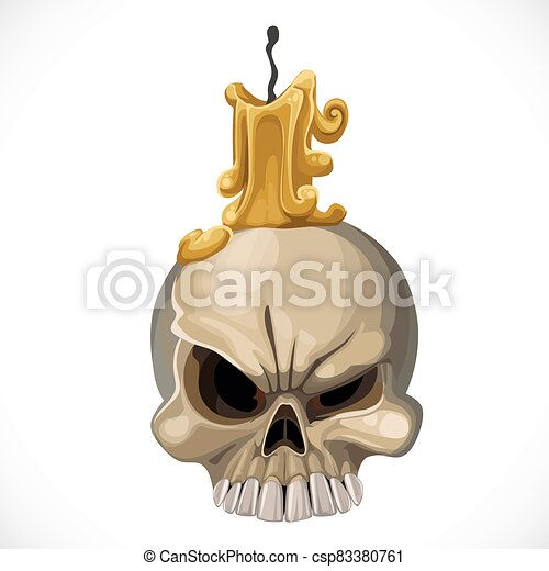 Cute skull candle holder with a candle on top isolated on white background - csp83380761