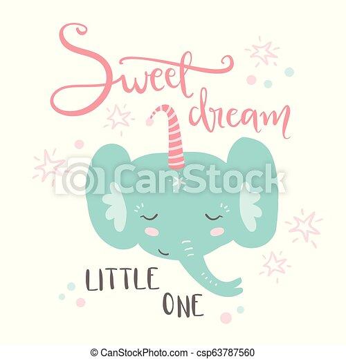 Cute sleeping baby elephant. Hand drawn vector illustration. For - csp63787560