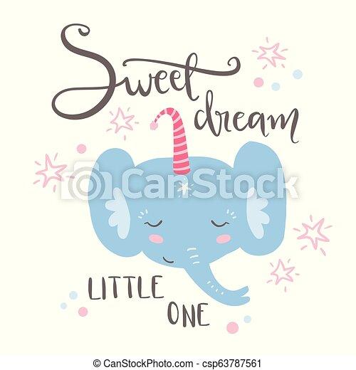 Cute sleeping baby elephant. Hand drawn vector illustration. For - csp63787561