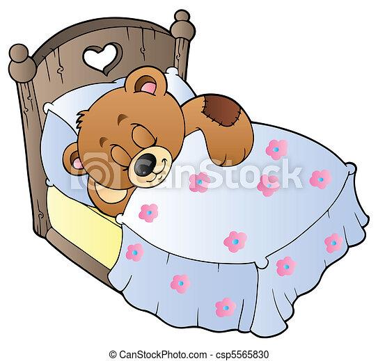 Cute sleeping teddy bear - csp5565830