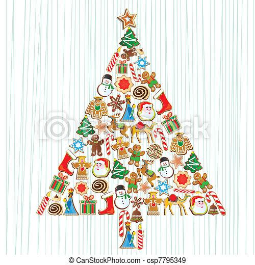 cute, småkage, træ christmas - csp7795349