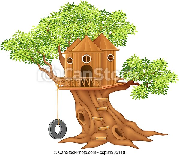 vector illustration of cute small tree house rh canstockphoto com Magic Tree House Cartoon Tree House
