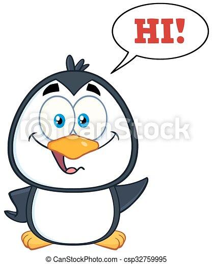 cute, smil, karakter, pingvin - csp32759995