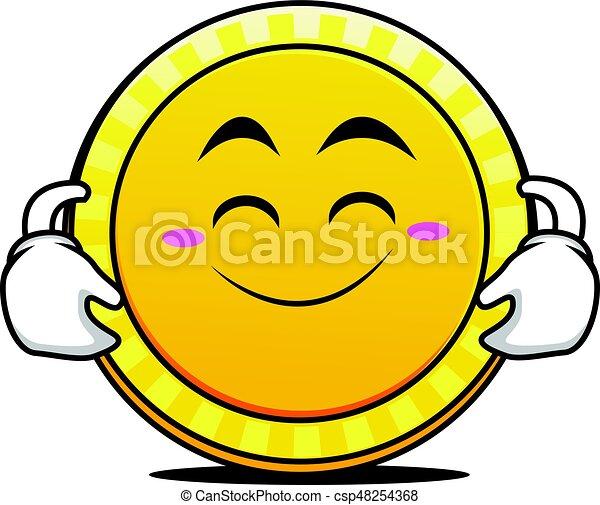 Cute smile coin cartoon character vector illustration.