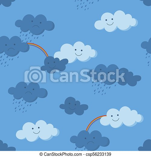 Cute smiling and crying clouds and rainbow in the sky seamless pattern - csp56233139