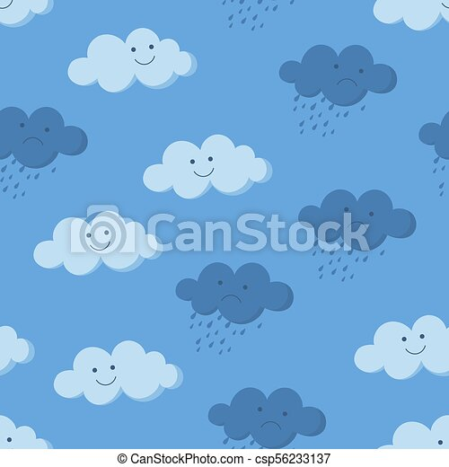 Cute smiling and crying rainy clouds in the sky seamless pattern - csp56233137
