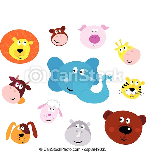 Cute smiling animal head icons - csp3949835