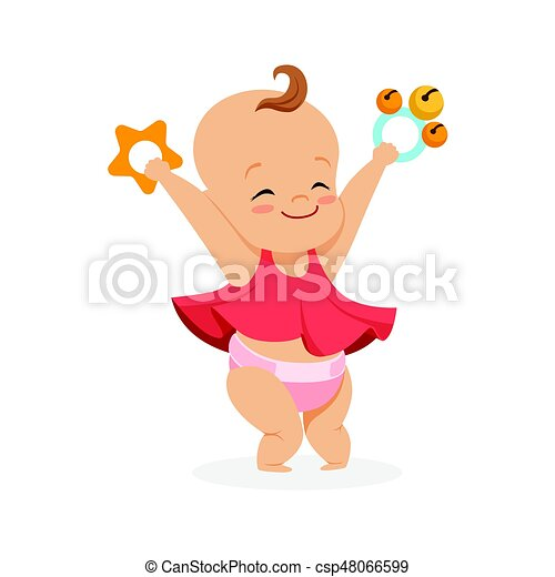 baby girl cartoon characters cute smiling baby girl playing with rattles, colorful cartoon character  vector illustration