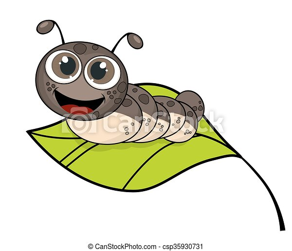 Cute Smiling Cartoon Caterpillar On Fresh Green Leaf Isolated On