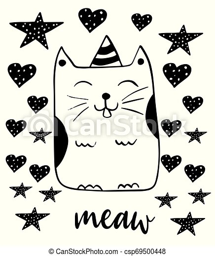 Cute smiling cat. Kitty vector illustration. Hand drawn doodle style. - csp69500448