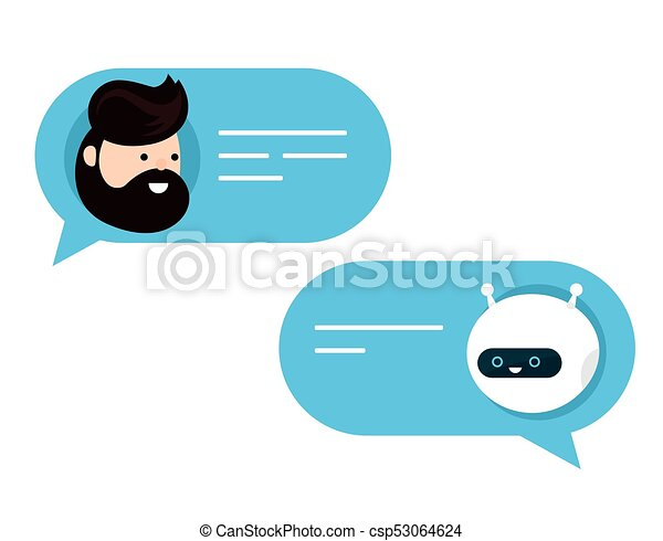 Cute smiling chat bot is written - csp53064624