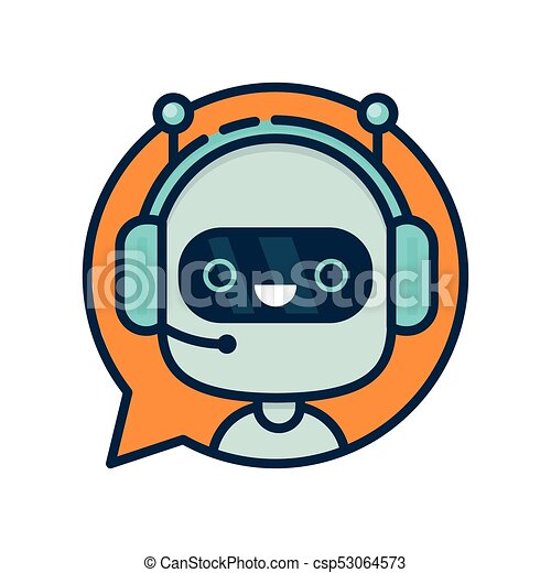 Cute smiling funny robot chat bot - csp53064573