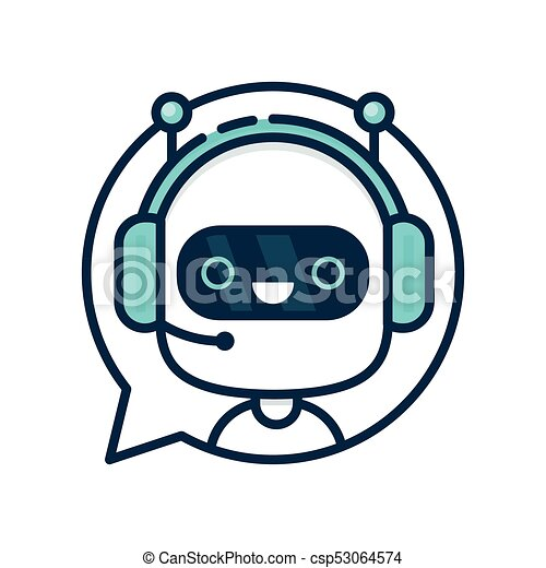 Cute smiling funny robot chat bot - csp53064574