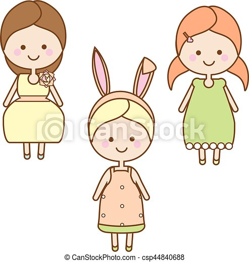 Sweet Cartoon Little Kids In Summer Dresses Vector