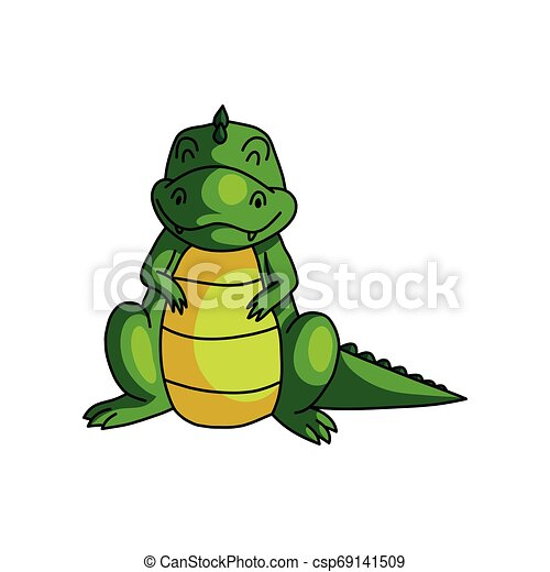 Cute smiling green dino with closed eyes, happy - csp69141509