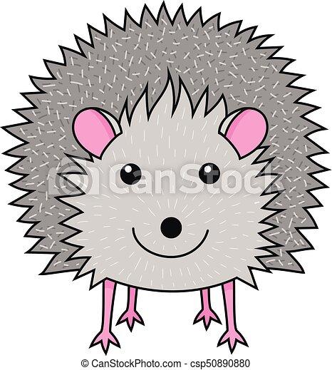 Cute smiling hedgehog art print - csp50890880