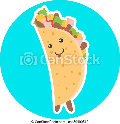 Cute smiling taco character on blue background - csp50490513